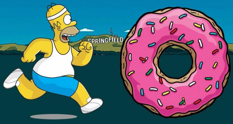 Homer Simpson corriendo por un donut
