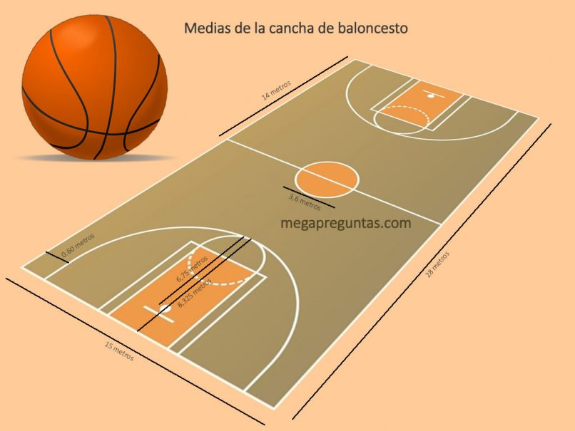 Medias de una cancha de baloncesto