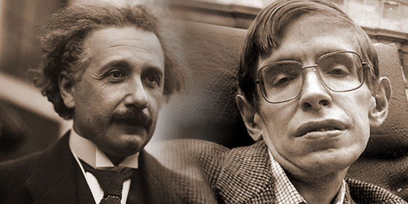 Albert Einstein y Stephen Hawking