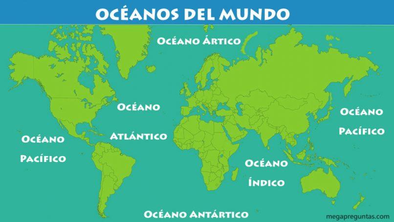 Mapa de los océanos del mundo