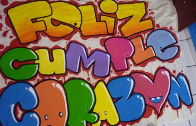 Grafiti de feliz cumpleanos