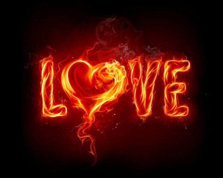 Imagen de Love con llamas ardiendo como el calor del amor