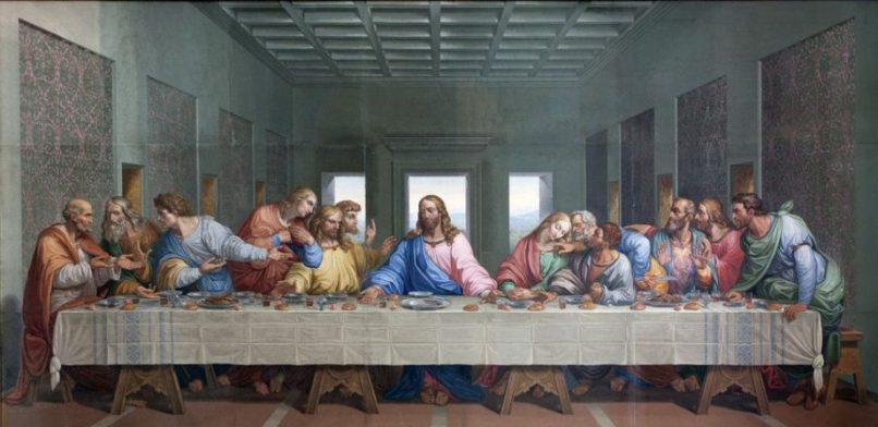 La última cena de Jesús con sus 12 apóstoles